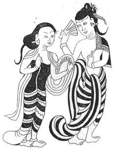 Early Konbaung Period Traditional Dresses, Traditional Art, Types Of Art Styles, Bagan, Colouring Techniques, Burmese, Wedding Invitation Cards, Asian Art, Cartoon Art
