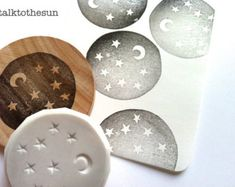 moon and star stamp. midnight hand carved rubber stamp. starry night pattern stamp. diy christmas/birthday. craft projects. mounted