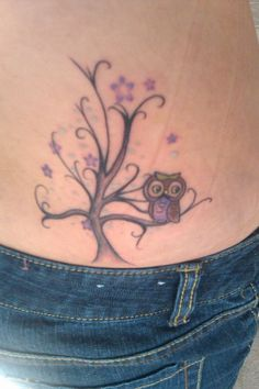 134a66f82 Small Owl With Simple Tree Tattoo On Sexy Lower Back Tiny Owl Tattoo, Small  Butterfly