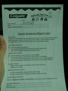 #BuildingSmiles dental screening report card, good job!
