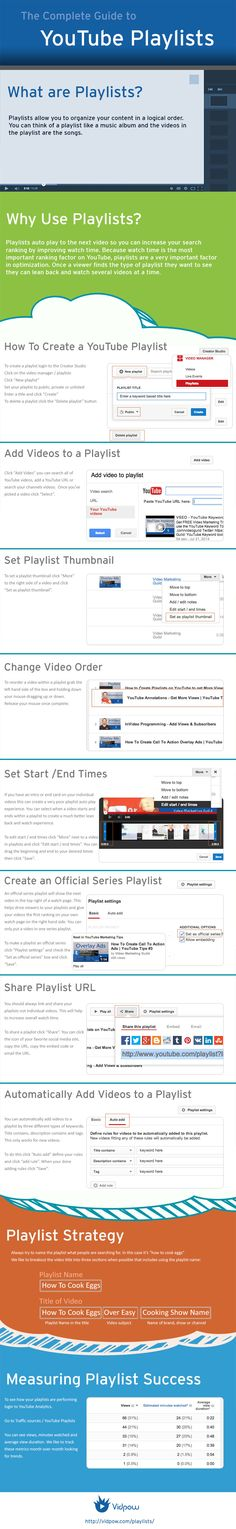 Creating playlists in YouTube will help you to organize your content into logical order. Playlists autoplay to the next video when a viewer is done with the first - this greatly improves watch time, increasing your YouTube ranking = Google ranking, which means your videos get found first! Click here for more video marketing tips: www.theonlinevideomarketer.com/blog-articles image source: vidpow