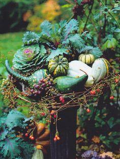 Great way to decorate a bird bath for fall! Karin Ledbik-Brent. Seasonal ideas.