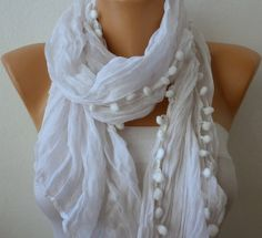 White Women Shawl Scarf  Headband Necklace Cowl by fatwoman, $13.50