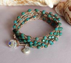 Beaded Crochet Jewelry Turquoise Crochet Wrap Beaded by PJsPrettys