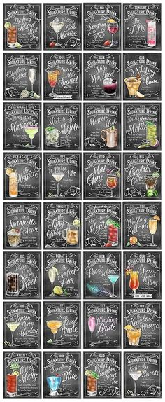 Personalized Signature Drinks signs - Perfect for your wedding cocktail hour… Mojito, Cocktail Drinks, Alcoholic Drinks, Mix Drinks, Champagne Cocktail, Beverages, Party Drinks, Wedding Cocktail Hour, Cocktail Gifts