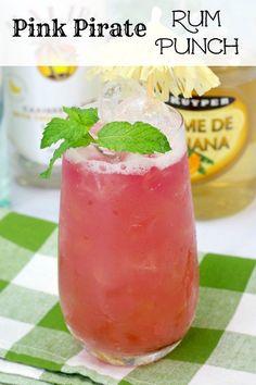 Pink Pirate Rum Punch Recipe (over Rum Cocktails, Cocktails For Parties, Summer Cocktails, Cocktail Drinks, Vodka Martini, Cocktail Ideas, Rum Cocktail Recipes, Popular Cocktails, Festive Cocktails