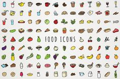 Food Icons Clip Art - hand drawn clipart, foodie icons, food illustrations, instant download, commercial license, fruits vegetables drinks