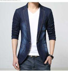 men's casual fashion denim blazer http://www.99wtf/men/mens