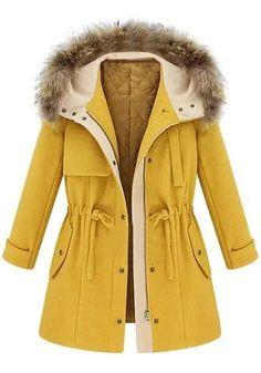 Yellow Faux Woolen Jacket