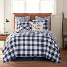Rustic in design, Bee & Willow Home's Sawyer Reversible Quilt brings a welcoming look into your bedroom. Boasting a simple and timeless buffalo check print, this quilt has a stylish striped reverse for a casual feel that you will adore. Plaid Bedroom, Plaid Bedding, Quilt Bedding, Bedroom Decor, Master Bedroom, Bedroom Ideas, Sheets Bedding, Bedding Decor, Bedroom Red