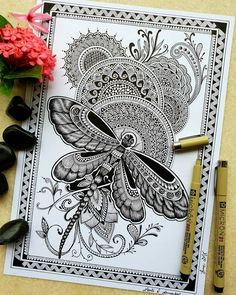Sharing one of my favourite work with you all which is quite similar to my on going series. This work had been created ten months back… Doodle Art Drawing, Mandala Drawing, Pencil Art Drawings, Mandala Artwork, Butterfly Mandala, Butterfly Painting, Doddle Art, Mandala Art Lesson, Creative Bookmarks