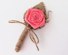 Peachy / coral Flower Boutonniere Natural Eco by BridalLife