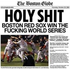 Boston Red Sox win the Fucking World Series Boston Red Sox, Boston Baseball, Red Sox Baseball, Boston Sports, Baseball Stuff, Baseball Party, Boston Bruins, Red Sox World Series, Red Sox Nation