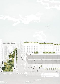 Image 16 of 21 from gallery of Tirana 2030 Watch How Nature and Urbanism Will CoExist in the Albanian Capital The city will encourage shared mobility and public transport Image Courtesy of Attu Studio - Architecture Graphics, Architecture Drawings, Landscape Architecture, Architecture Career, Architecture Models, Architecture Diagrams, Urban Landscape, Landscape Design, Axonometric Drawing