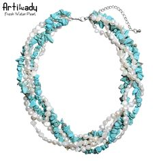 Artilady fashion natural freshwater pearl chain necklace natural turquoise genuine pearl necklace for women jewelry party