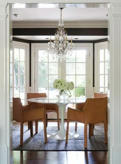 Traditional lighting with contemporary table.