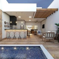 36 Ideas Outdoor Seating Area With Tv Pool House Designs, Backyard Patio Designs, Home Interior, Interior Design, Outdoor Seating Areas, My Dream Home, Sweet Home, New Homes, Home Decor