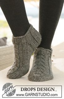 Socks & Slippers - Free knitting patterns and crochet patterns by DROPS Design Crochet Socks, Knitted Slippers, Knit Or Crochet, Knitting Socks, Slipper Socks, Knit Slippers Free Pattern, Free Crochet, How To Knit Socks, Crochet Slipper Boots