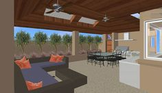 Covered Alfresco Area with Ceiling Fans