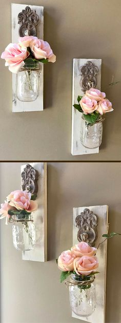 These wall sconces are the perfect farm for your wall! The flowers can be changed for any season to Shabby Chic Beach, Shabby Chic Pink, Shabby Chic Cottage, Guest Room Decor, Cute Room Decor, Bedroom Decor, Vintage Girls Rooms, Old Vases, House Of Beauty