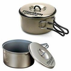 Evernew Titanium Cookware Non Stick Pot Set 0.9L and 1.3L