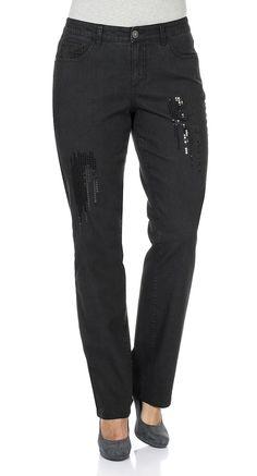 Typ , Stretch-Jeans, |Materialzusammensetzung , 98% Baumwolle, 2% Elasthan, |Waschung , black Denim, |Beinform , gerade Form, |Passform , gerade Form, |Länge , Lang, |Anlass , Party, |Innenbeinlänge , N-Gr. 82,5 cm, K-Gr. 77,5 cm, L-Gr. 89,5 cm, | ...