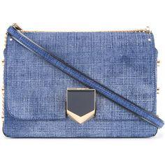 Jimmy Choo City Lockett denim shoulder bag ($1,620) ❤ liked on Polyvore featuring bags, handbags, shoulder bags, blue, blue purse, chain purse, studded handbags, jimmy choo handbags and jimmy choo