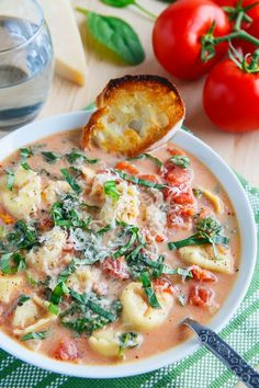 Creamy Parmesan Tomato and Spinach Tortellini Soup | Closet Cooking
