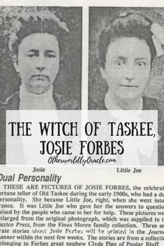 Josie Forbes, the Witch of Taskee, was one of many American witches in the early nineteenth century. Witchcraft History, Witch History, Wicca Witchcraft, Haunted History, Wiccan, Magick, Witch Photos, Witch Pictures, Evil Witch