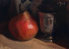 daily painting titled Red pear and silver goblet - click for enlargement