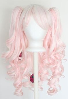 20'' Gothic Lolita Wig + 2 Pig Tails White and Light Pink Blend Mix NEW