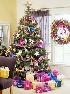 Joyful Color--bright ribbons, colorful ornaments, repeated theme of stars