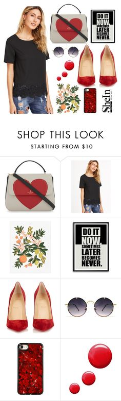 """""""Untitled #2"""" by haddy-eve ❤ liked on Polyvore featuring Kate Spade, Rifle Paper Co, Christian Louboutin, Spitfire and Topshop"""