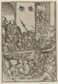 Lucas Cranach (I) | De kruisdraging, Lucas Cranach (I), 1540 | Tiende prent uit een serie van veertien met de passie, gebruikt in het Passional Buch. In het midden op de voorgrond omringd door soldaten bezwijkt Christus onder het gewicht van het kruis. Een soldaat links trapt hem. Simon van Cyrene pakt het kruis vast. Op de achtergrond rechts staat Maria temidden van mannelijke en vrouwelijke volgelingen. Bovenaan in het midden twee wapenschilden.