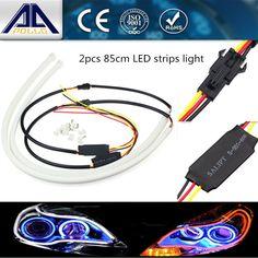 2pcs 85cm LED car Angel Eye Daytime Running Light  White+Yellow Flexible Headlight Strip With Turn Signal DRL Tube Style styling