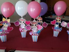 The centerpiece at this LOL Surprise Dolls birthday party i 7th Birthday Party Ideas, Birthday Party Centerpieces, Diy Birthday, Surprise Birthday, Princess Centerpieces, Custom Balloons, Doll Party, Lol Dolls, Party Time