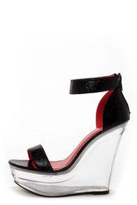 Shoe Republic LA Dawn Black and Clear Platform Wedges ♡