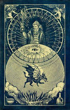 Tarot - The Magician Crystal Dragon, Esoteric Art, Arte Obscura, Occult Art, Mystique, Sacred Geometry, Dark Art, The Magicians, Magick
