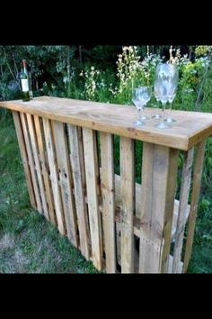 bar made from old pallets - could also be display for plants and other items  -  30 Amazing Uses For Old Pallets