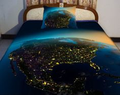 North America night vision map duvet cover US map bedding set map quilt cover and two America map pillow covers US nightlight map comforter