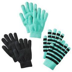 Xhilaration® Tech Touch Glove Set of 3 - Aqua/Blk