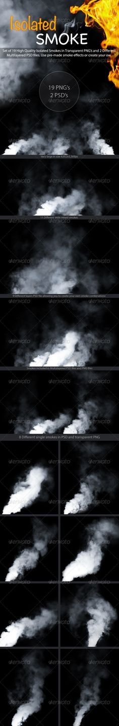 Set of 19 High Quality Isolated Smokes in Transparent PNG's and 2 Different Multilayered PSD files.