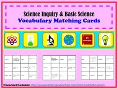 The following topics are represented: Scientific MethodCommon Laboratory EquipmentSafety RulesScientific Theory versus LawMetric SystemElements of LifeCharacteristics of LifeTextbook TipsThese student matching vocabulary cards are a great way to engage all student in groups or individually with a game.