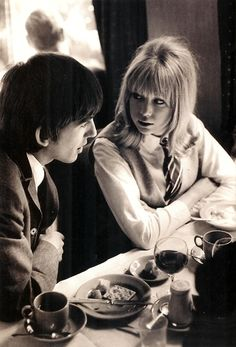 "George Harrison and Pattie Boyd on the settings of ""A Hard Day's Night"""