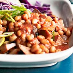Baked Beans with Ham These tangy-sweet baked beans have big chunks of smoky ham for a satisfying main course.