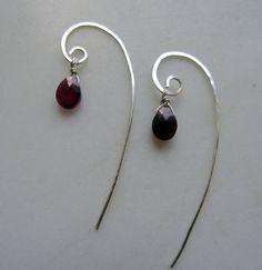 Rhodolite earrings. Faceted Rhodolite Garnet drops on hand forged solid silver. January birthstone. Winter wedding. Artisan silver earrings. Handmade in the UK by CalicoRoseStudio. £27.95