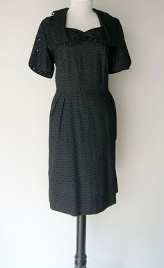 Vintage Early 50s  Black Eyelet Wiggle Dress by hipandvintage, $40.00