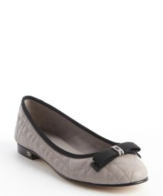 Christian Dior grey grosgrain bow detail quilted leather ballet flats