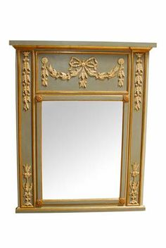 "Vintage Louis XVI Trumeau mirror by ""Cavallo Mirror Fair"" of New York"