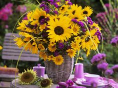 Arrangement of Sunflowers with Michaelmas Daisies